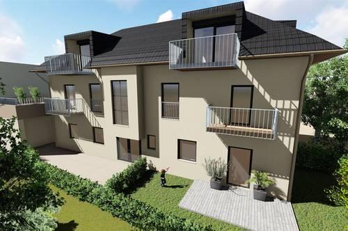 Balkonwohnung W4, Luxus pur: Geölter Parkettboden, Fußbodenheizung, Markenküche, Garage, Erstbezug, Ortszentrum