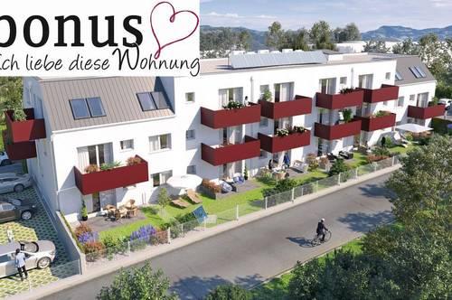 Perfekt für Singles: schlüsselfertige 1-Zimmer Wohnung mit Terrasse, Sonnengarten und Parkplatz.