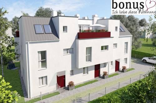 Provisionsfrei: ziegelmassives Reihenhaus mit 5 Zimmern, Hobbykeller, Eigengarten, Dachterrasse und Parkplatz.