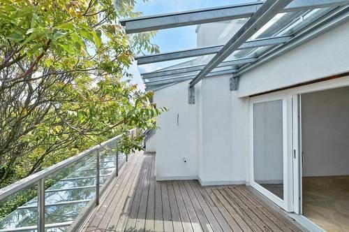 Bestlage nahe Wertheimsteinpark! Lichtdurchflutetes Erstbezug-Penthouse mit fünf Terrassen und Panorama-Dachterrasse