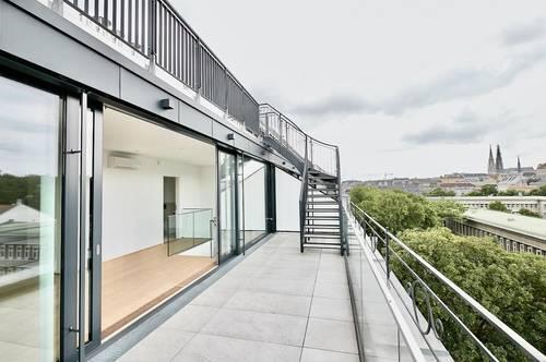 Bestlage beim Palais Liechtenstein! Luxuriöse Penthouse-Dachgeschoss-Wohnung mit eigenem Liftzugang und zwei Terrassen in Grünruhelage