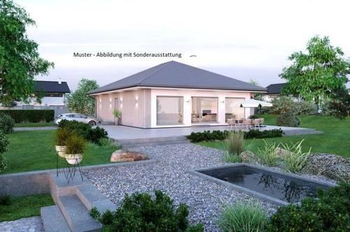Randlage Glanegg/Nahe Klagenfurt - Schöner ELK-Bungalow und ebenes Grundstück mit Fernblick (Wohnfläche - 104m² & 120m² möglich)