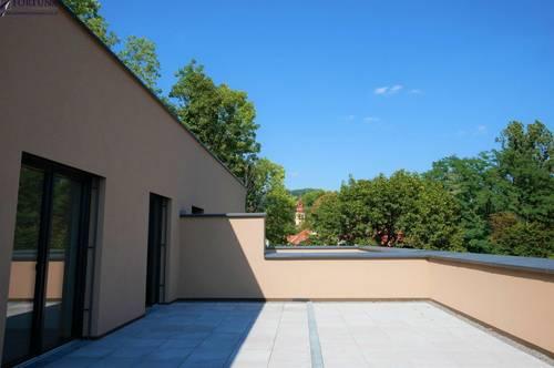 Grüne Ruhelage mit herrlichem Ausblick von der 66 m² großen Terrasse - Hier lässt es sich leben!