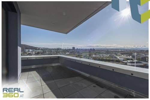 NEUBAU - LENAUTERRASSEN   Sonnige 3-Zimmer-Wohnung mit riesigem Balkon zu vermieten! (GRATIS UMZUGSMONAT)