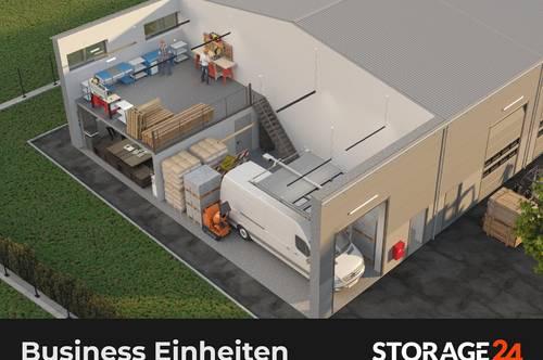 Storage24 vermietet zweistöckige Unternehmer-Einheiten aus Lager- und Bürofläche.