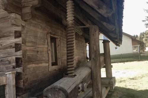 K3!! Unterkärnten: NOSTALGIE PUR! Alter Troadkasten mit Presse - ideal als Chalet für die Alpen, als Jagdhütte oder Feriendomizil