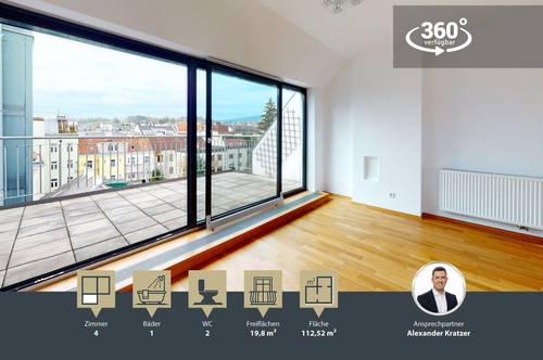 Großzügige Dachgeschosswohnung mit Fernblick   2 Terrassen   Nähe U-Bahn Station Ober St. Veit