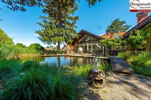 Grandiose Familienvilla mit extra 68 m² Wohnung und eigenem Schwimmteich in absoluter Grün-Ruhelage Nahe Wien und St. Pölten