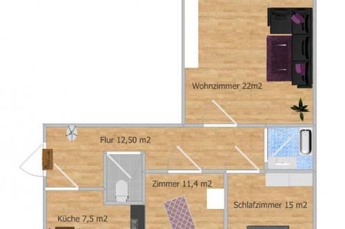 *Leicht- Sanierungsbedürftige 3-Zimmer+Küche Starter-Wohnung mit großem Balkon und eigenem Parkplatz in Hartberg*