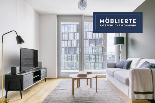 Traumblick über Wien, Belview Tower mit Gym, Wellness & Lounge, 2 Zimmer + Balkon, 14. Stock, U-Bahn