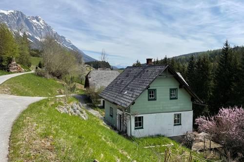 PROVISIONSFREI -Wohn/ Ferienhaus in den Alpen mit 2 Gebäuden erweiterbar, sonnige Südlage, eigenes Quwellwasser 12500 m2