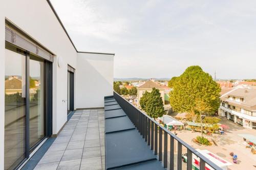 Dachgeschoßwohnung 123 m² + 2 Terrassen 36 m², Erstbezug, Stadtmitte Mattersburg, mit wunderschönem Ausblick