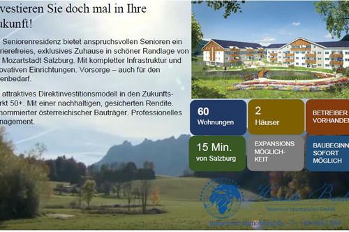 * Moderne Eigentumswohnungen/Penthouse Atelier mit Balkon/Terrasse oder Loggia in exklusiver Seniorenresidenz am Fuße des Unterberges nahe der Kulturstadt Salzburg *