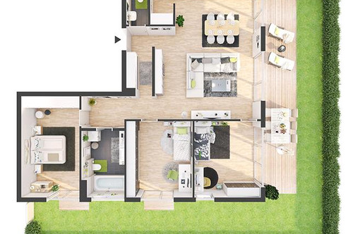 Provisionsfreie 4-Zimmer Neubau-Gartenwohnung (BW01)