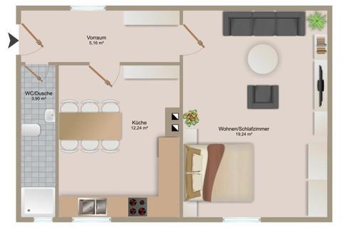 1-Zimmer-Wohnung mit separater Küche!