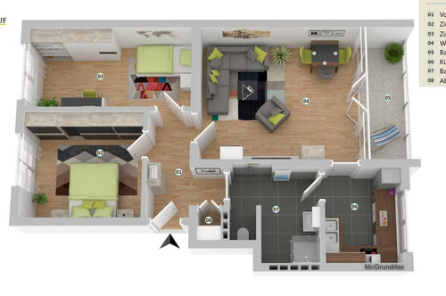 Von PRIVAT - sehr gut aufgeteilte ca. 65 m² Mietwohnung plus 5,88 m² Balkon