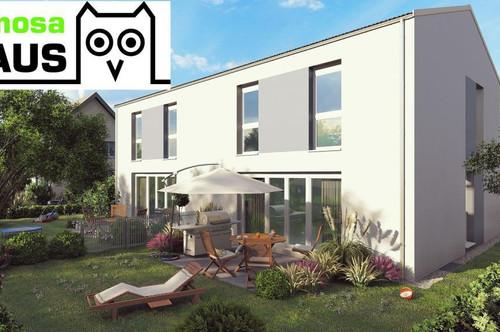 Ziegelmassive Doppelhaushälfte: 102m² Wohnfläche, 55m² Keller, Sonnenterrasse, Eigengrund und Garage.