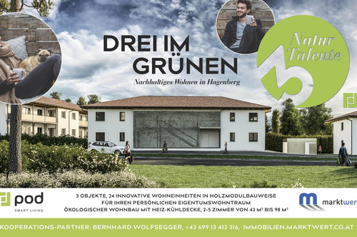 24 ökologische Eigentumswohnungen von 46 m² bis 88 m² mit Loggia, Garten, TG-Platz - IDEAL AUCH FÜR ANLEGER