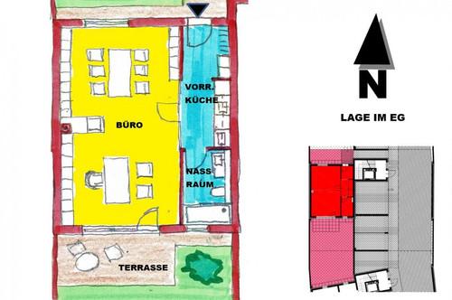 schlüsselfertiges Büro mit Garten und Terrasse in Sooß bei Baden