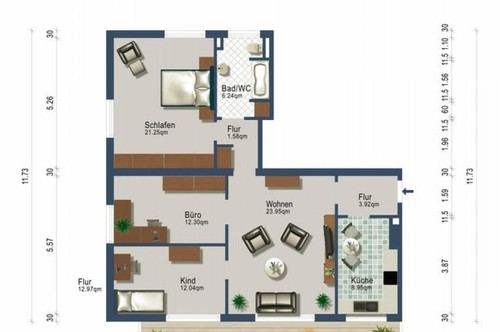 4,5 Zimmer mit Südbalkon / ab 1. August / Heizung inklusive / provisionsfrei !